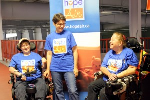 Photo Credit  Kyla Corpuz | Alicia Calder, Anna du Bois from Hope Air and Darlene Thomas at this year's wheel-a-thon raising money for national organization Hope Air on Aug. 28.