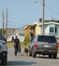 An officer and a police dog return to their vehicle after an intense situation at a Fort St. John residence that RCMP are calling a homicide. Photo: Bronwyn Scott