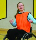 Erica Thomas-Schulenburg prepares to catch a ball. Photo: Julia Lovett
