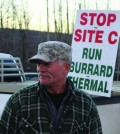 Mark Meiers, early in the morning at the protest. Photo: Julia Lovett